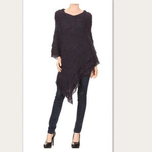 New Women's Black Pull Over Sweater Poncho